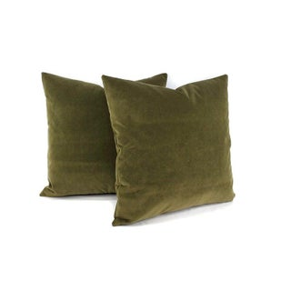"Kravet Delta Velvet in Loden Green Pillow Cover - 20"" X 20"" Solid Moss Green Velvet Cushion Case Preview"