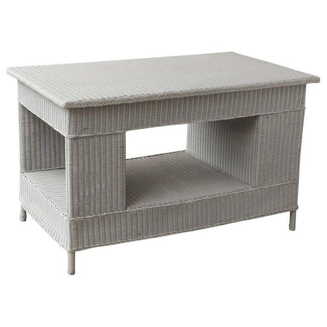 Paint Vintage Wicker Library Table For Sale - Image 7 of 7