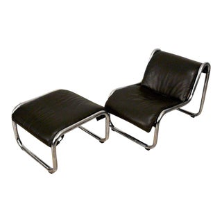 1970s Vintage Kinetics Furniture Leather and Chrome Lounge Chair and Ottoman
