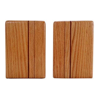 Mid Century Danish Modern Style Wood Bookends For Sale