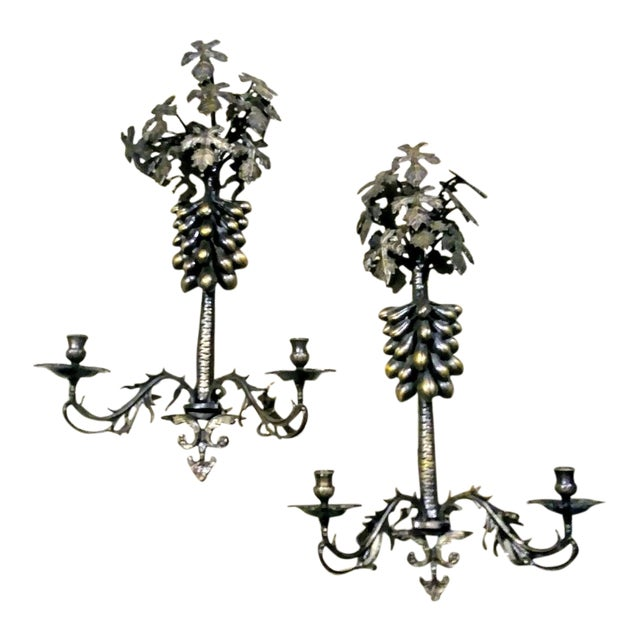 A Pair Large Wrought Iron Grape Leaf 2 Candle Wall Sconce Candelabras For Sale