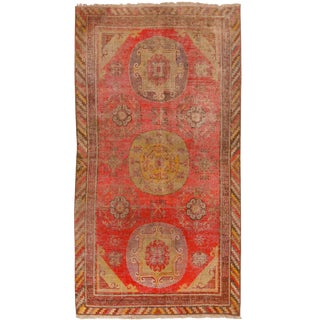 1920s Khotan Red and Yellow Wool Rug - 4′2″ × 7′ For Sale