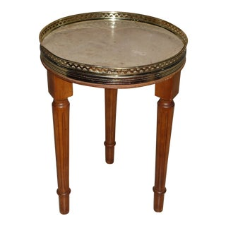 Vintage French Provincial Round Marble Top Tripod Side Table For Sale