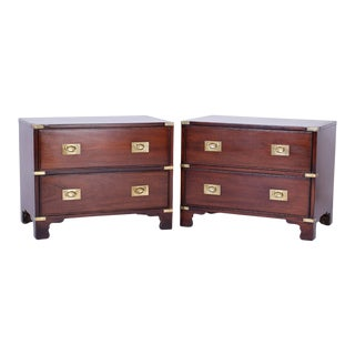Campaign Style Mahogany Nightstands or Chests - A Pair For Sale