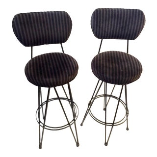 Mid-Century Modern Hairpin Bar Stools - A Pair
