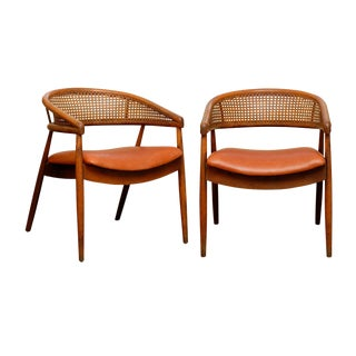 Rare Pair of James Mont Style Bent Beech and Cane Arm Chairs For Sale