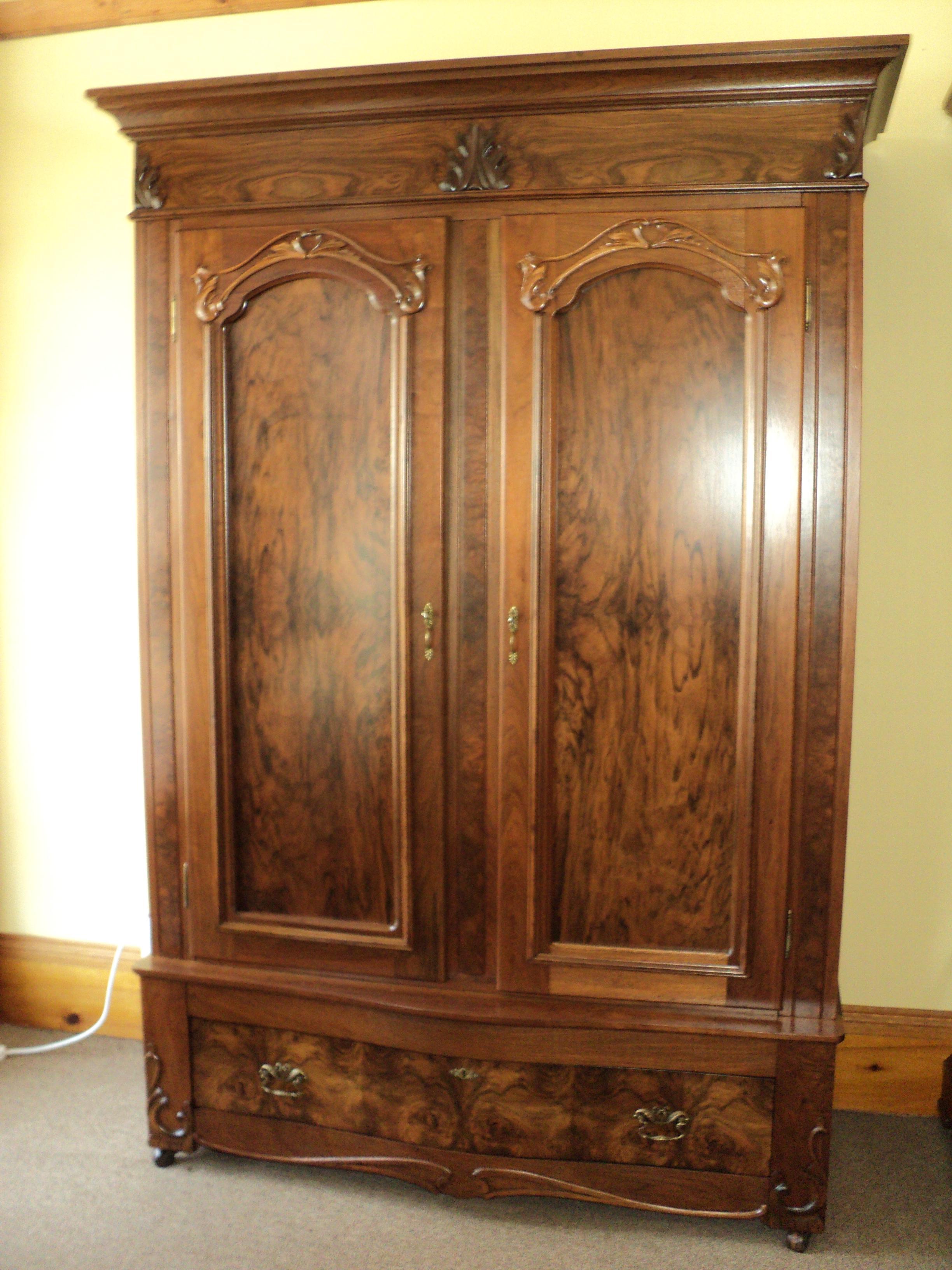 Antique Walnut 2 Door Wardrobe/Armoire   Image 2 Of 8