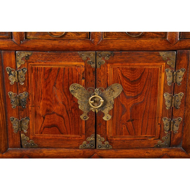 Metal 19th C. Korean Chest on Chest with Butterfly Hardware For Sale - Image 7 of 10