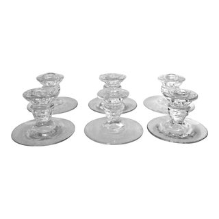 Crystal Taper Candlestick Candle Holders - Set of 6 For Sale