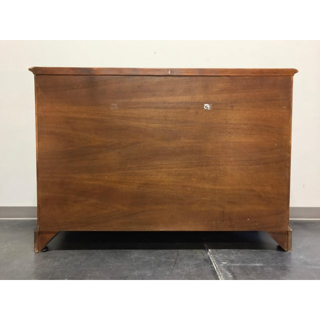 Chippendale Inlaid Banded Burl Wood Serpentine Four Drawer Dresser Chest For Sale In Charlotte - Image 6 of 13