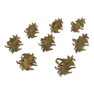 Vintage Pineapple Napkin Rings - 8 Pieces For Sale