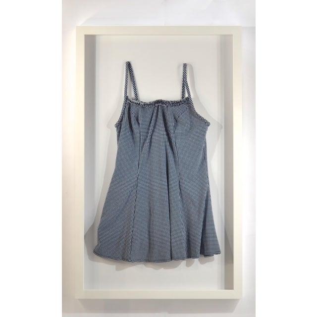 Framed Blue & White Vintage Swim Suit For Sale - Image 4 of 5