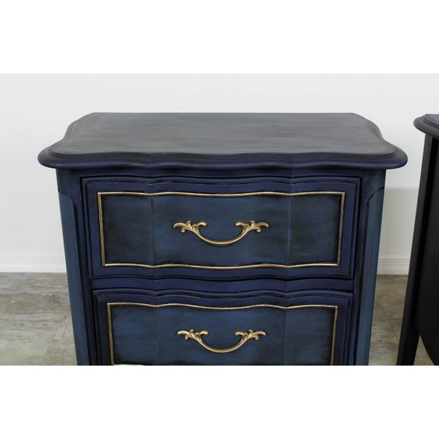 Blue 1960s Blue French Provincial Nightstands - a Pair For Sale - Image 8 of 10