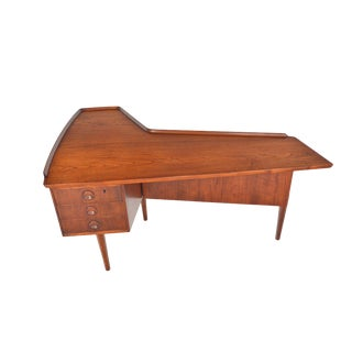 Arne Vodder Reverse Boomerang Desk in Teak For Sale