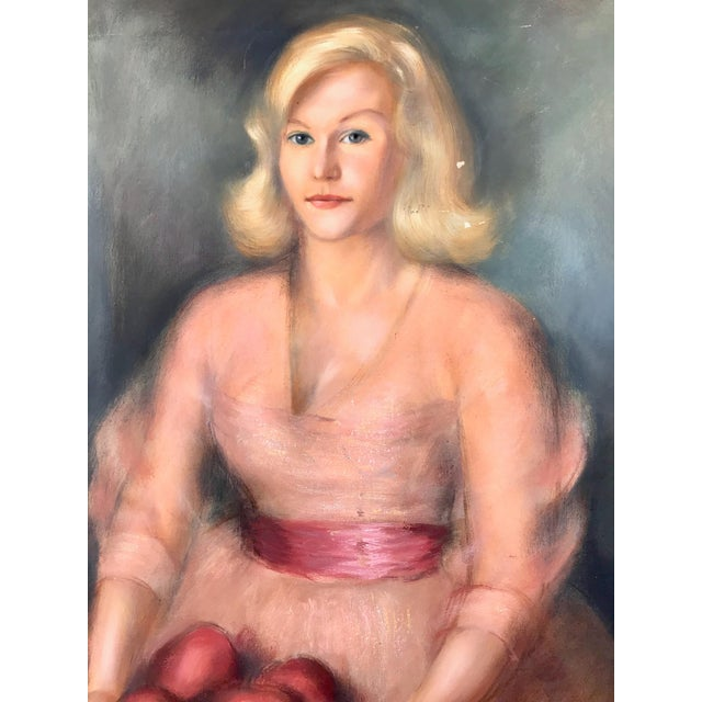1950s Vintage Buffett Debutante Lady With Apples Oil Painting For Sale - Image 4 of 6
