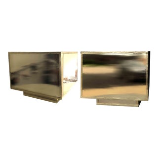 1970s Vintage Cube Tables Newly Wrapped in Gold Mirror Covering - a Pair For Sale