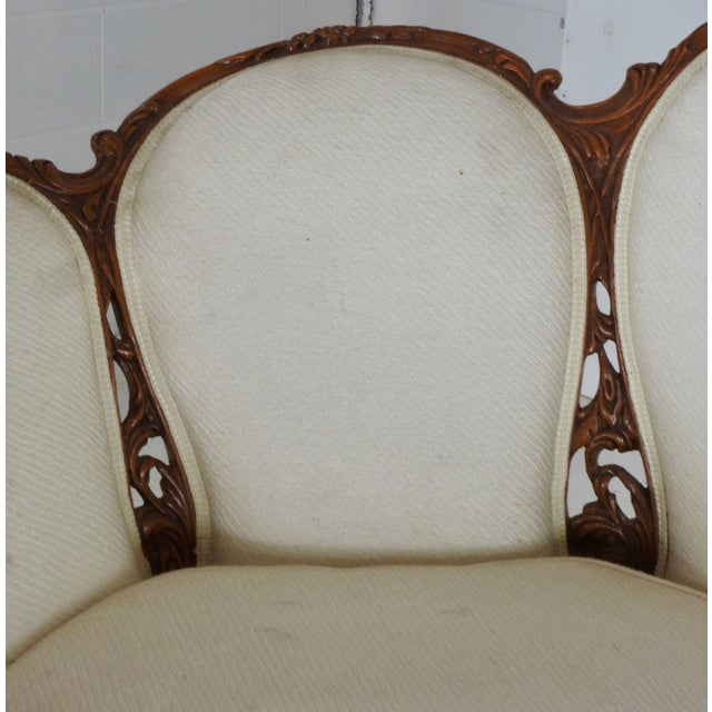 White Early 19th Century French Victorian Fabric With Wood Sofa For Sale - Image 8 of 11