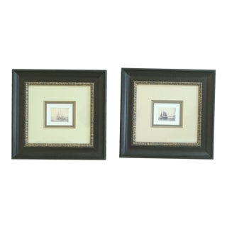 Pair Matted & Framed Tall Ship Boat Art Prints For Sale