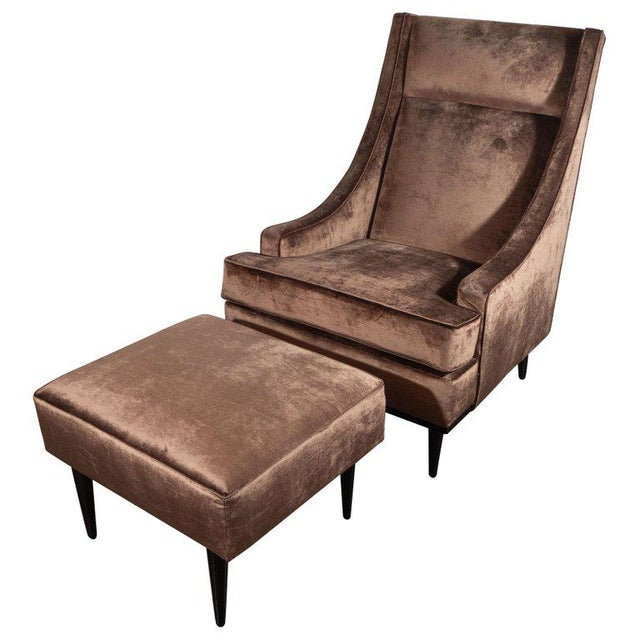 Mid-Century Modern Sleigh Back High Chair and Ottoman in Smoked Bronze Velvet For Sale - Image 10 of 10