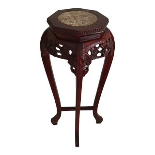 1960s Carved Wood Marble Top Rosewood Plant Stand For Sale