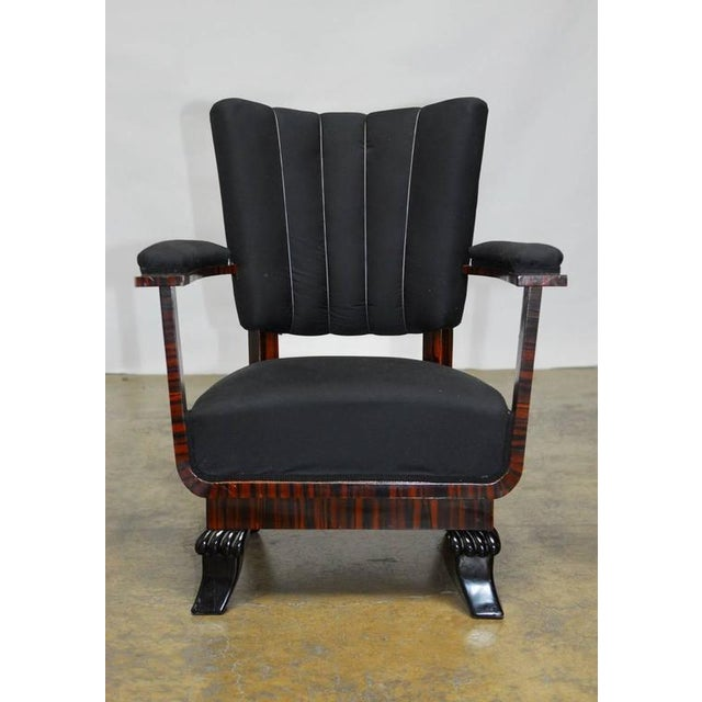 """This is a fantastic pair of French Art Deco period armchairs featuring a unique architectural open design with """"U"""" form..."""