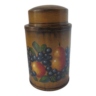 Hand-Painted Tea Canister With Fruit For Sale