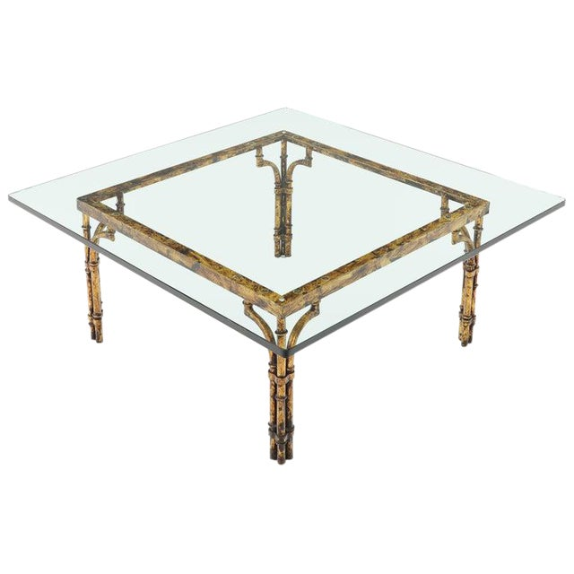 Faux Bamboo Gold Gilt Frame Square Glass Top Coffee Table For Sale