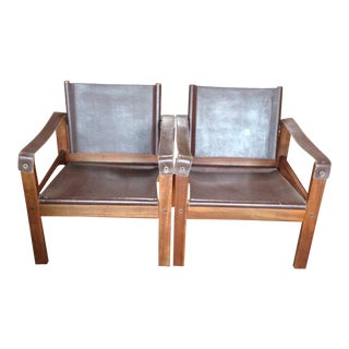 Mid-Century Leather & Brazilian Rosewood Campaign Chairs - A Pair