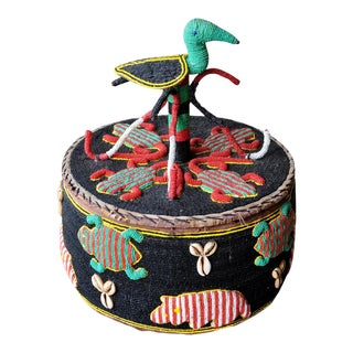 Vintage Yoruba Beaded Basket/Container With Animal Motifs For Sale