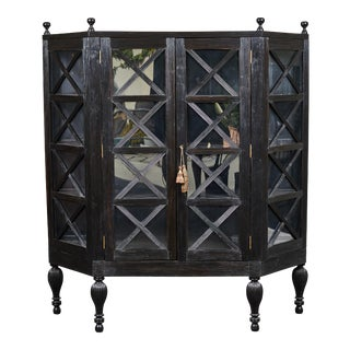 20th C. Ebony British Colonial 2-Door Display Cabinet For Sale