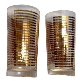 Mid-Century Gold Striped Drinking Glasses - A Pair For Sale