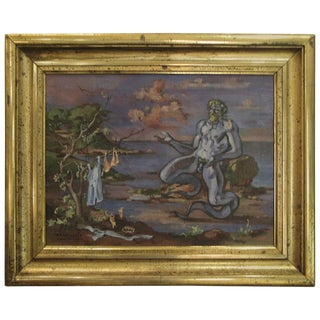 "1934 ""Neptune at Shore"" Oil on Canvas Painting by William Littlefield For Sale"