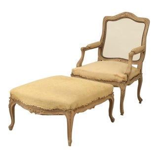 Antique French Duchesse Brisee or Lounge Chair and Ottoman For Sale