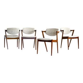 Kai Kristiansen Model 42 Rosewood Dining Chairs Danish Mid-Century - Set of 4 For Sale