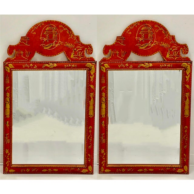 Metal Pair of Hand Painted Chinoiserie Mirrors For Sale - Image 7 of 7