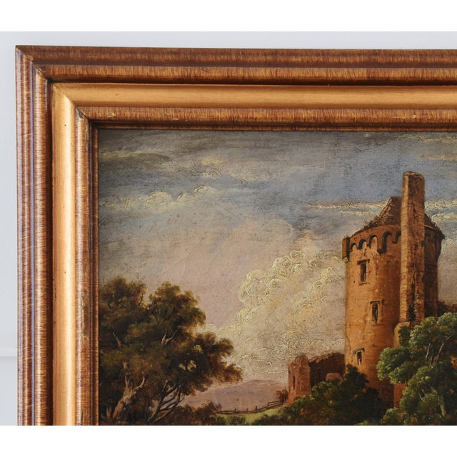 Early 19th Century Circa 1830s Antique English Castle & Cattle at River Painting For Sale - Image 5 of 11