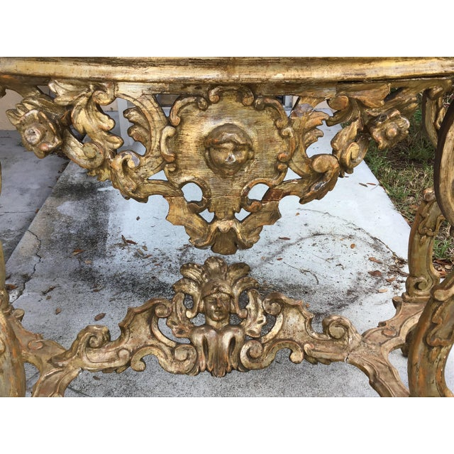 Baroque 18th Century Itlian Baroque Silver Gilt Console Table For Sale - Image 3 of 10