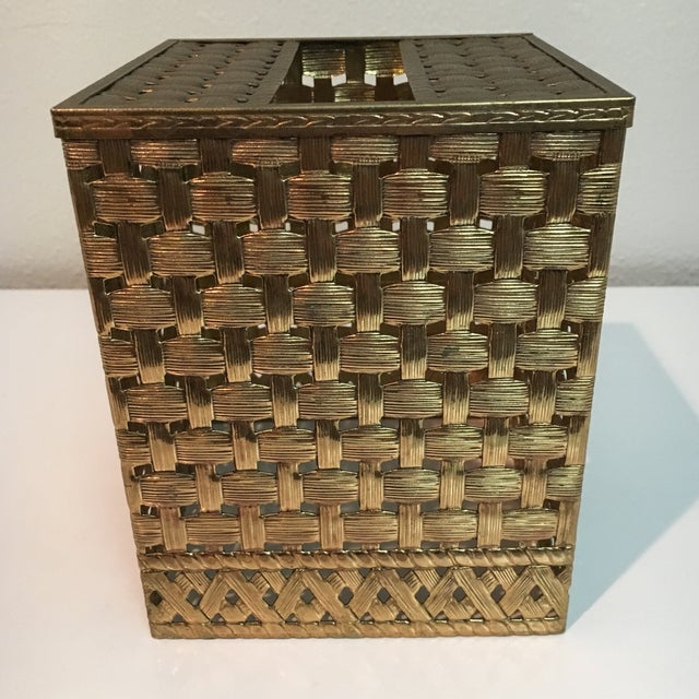 Vintage Brass Weave Tissue Box Holder For Sale In Houston - Image 6 of 6