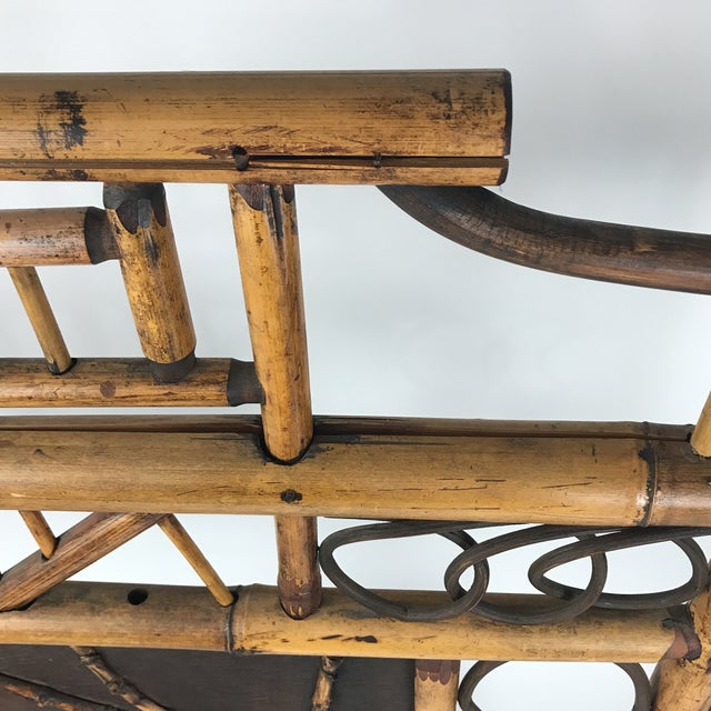 Early 20th Century Vintage Bamboo Standing Fireplace Screen Table Top Room Screen For Sale - Image 5 of 9