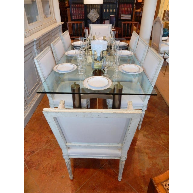 Mid-Century Modern Glass and Metal Dining Table