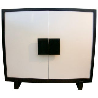 Mid-Century Modern Black and White Lacquered Cabinet For Sale