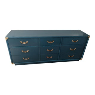 1970s Vintage Turquoise Gloss Campaign Dresser For Sale