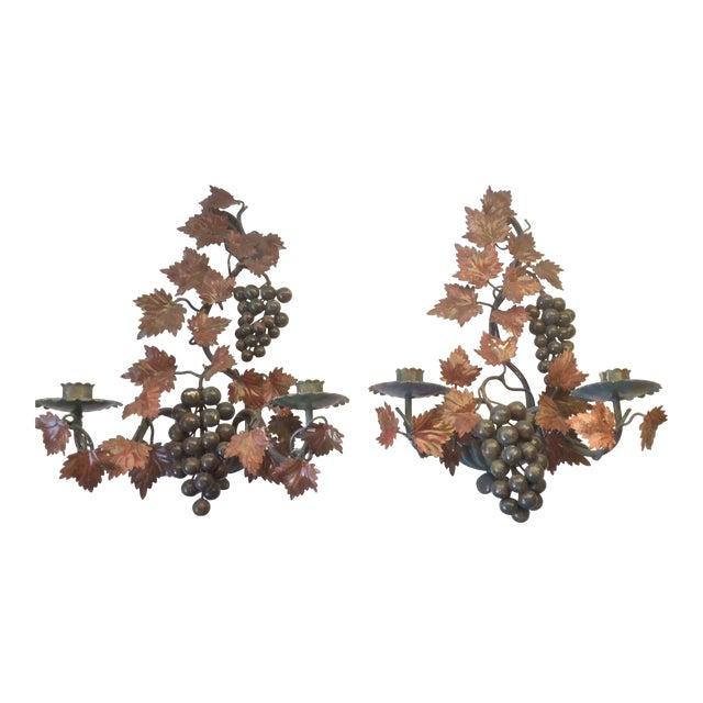 Polychrome Painted Tole Grape Candle Sconces - A Pair For Sale