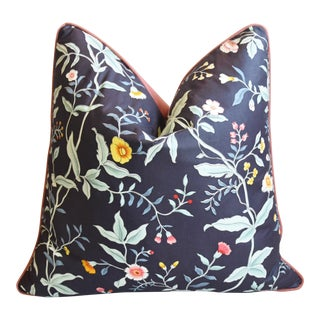 "Clarence House Floral & Bontanical Feather/Down Fabric Pillow 23"" Square For Sale"