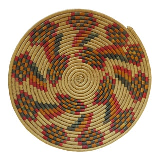 Vintage African Woven Bread Basket For Sale
