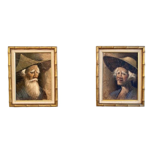 Vintage Mid Century Modern Oil on Tobacco Leaf Portrait Paintings - a Pair For Sale