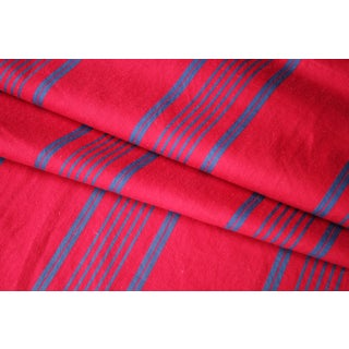 Ticking Fabric Red And Blue Striped 1940s Vintage French Textile For Sale