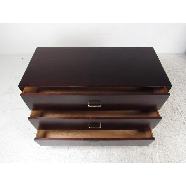 1960s Pair of Mid-Century Modern Mahogany Bachelor's Chests For Sale - Image 5 of 9
