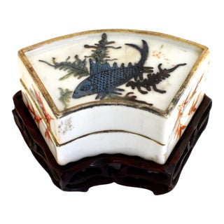 Republic Era Chinese Porcelain Box Hand Painted For Sale