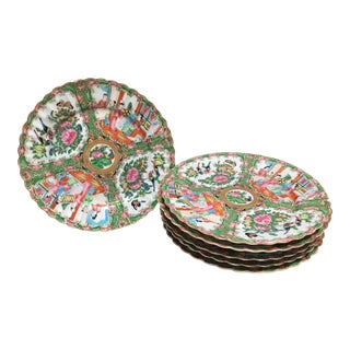Antique Medium Rose Mandarin Plates - Set of 6 For Sale